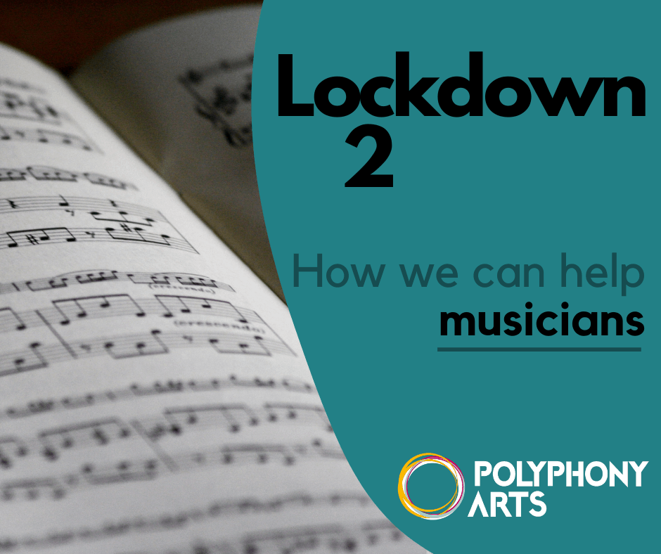 "A picture of sheet music with the caption: ""Lockdown 2: How we can help musicians"""